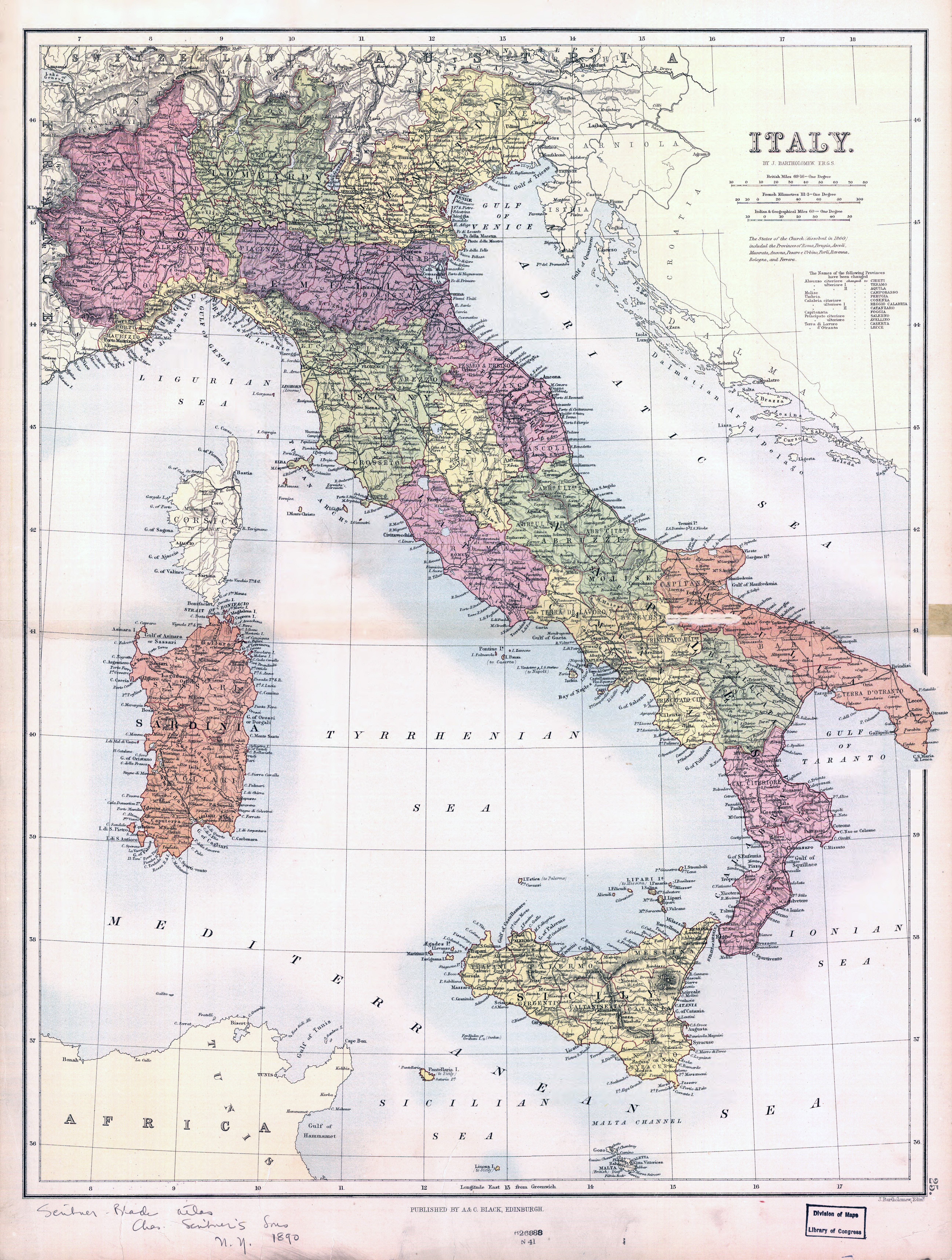 Large scale old political and administrative map of Italy 1890