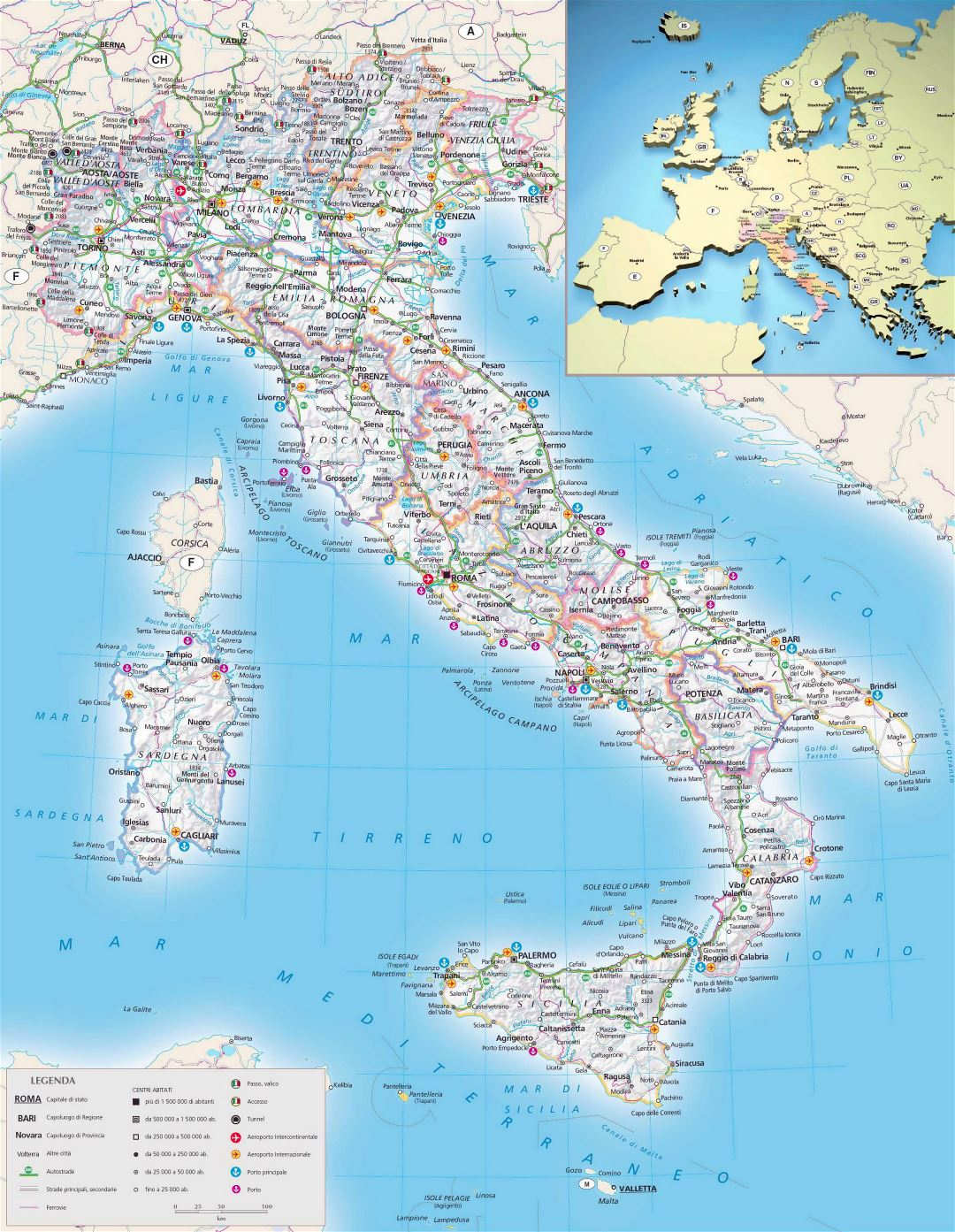 Large scale political and administrative map of Italy with relief, roads, cities, seaports, airports and other marks