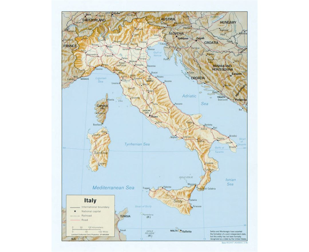 Large scale political map of Italy with relief, roads, railroads and major cities - 1996