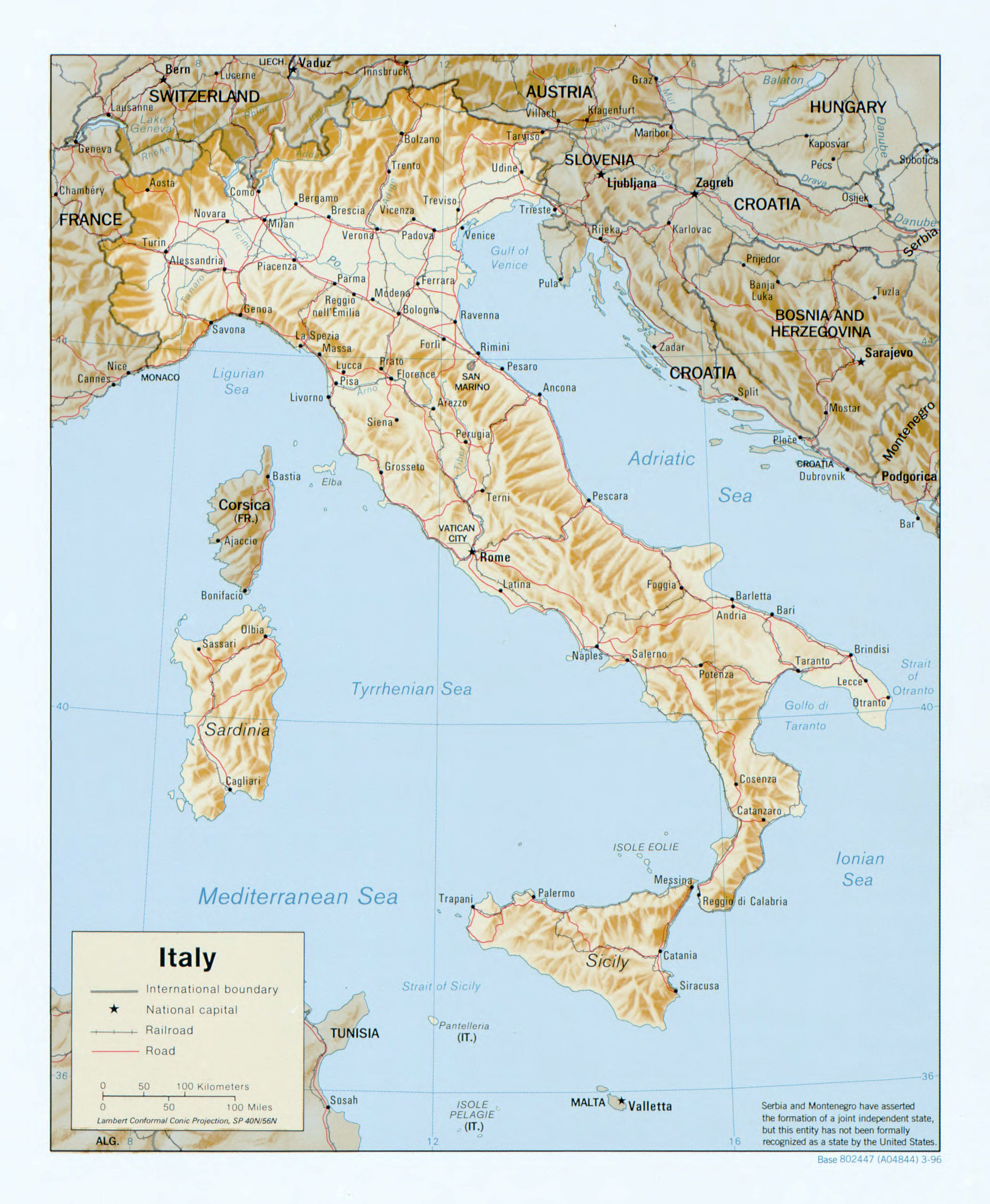 Large scale political map of Italy with relief roads railroads and