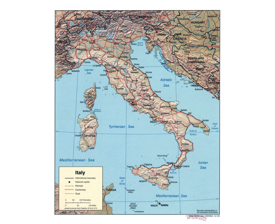 Large scale political map of Italy with relief, roads, railroads and major cities - 2004