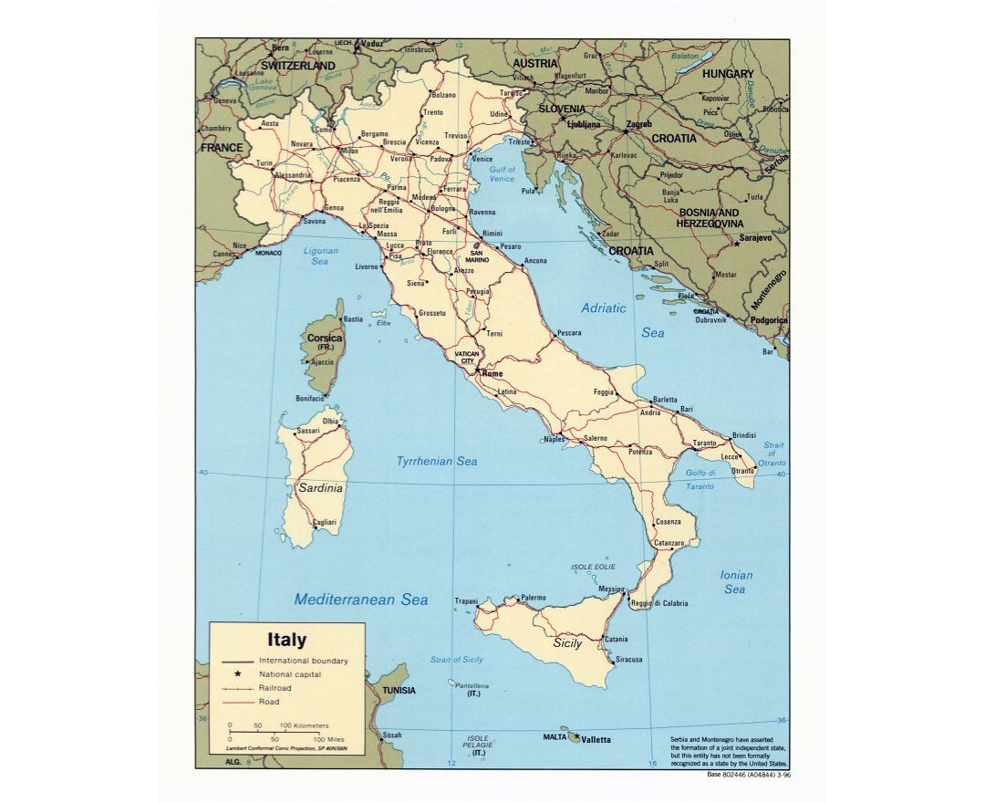 Large scale political map of Italy with roads, railroads and major cities - 1996