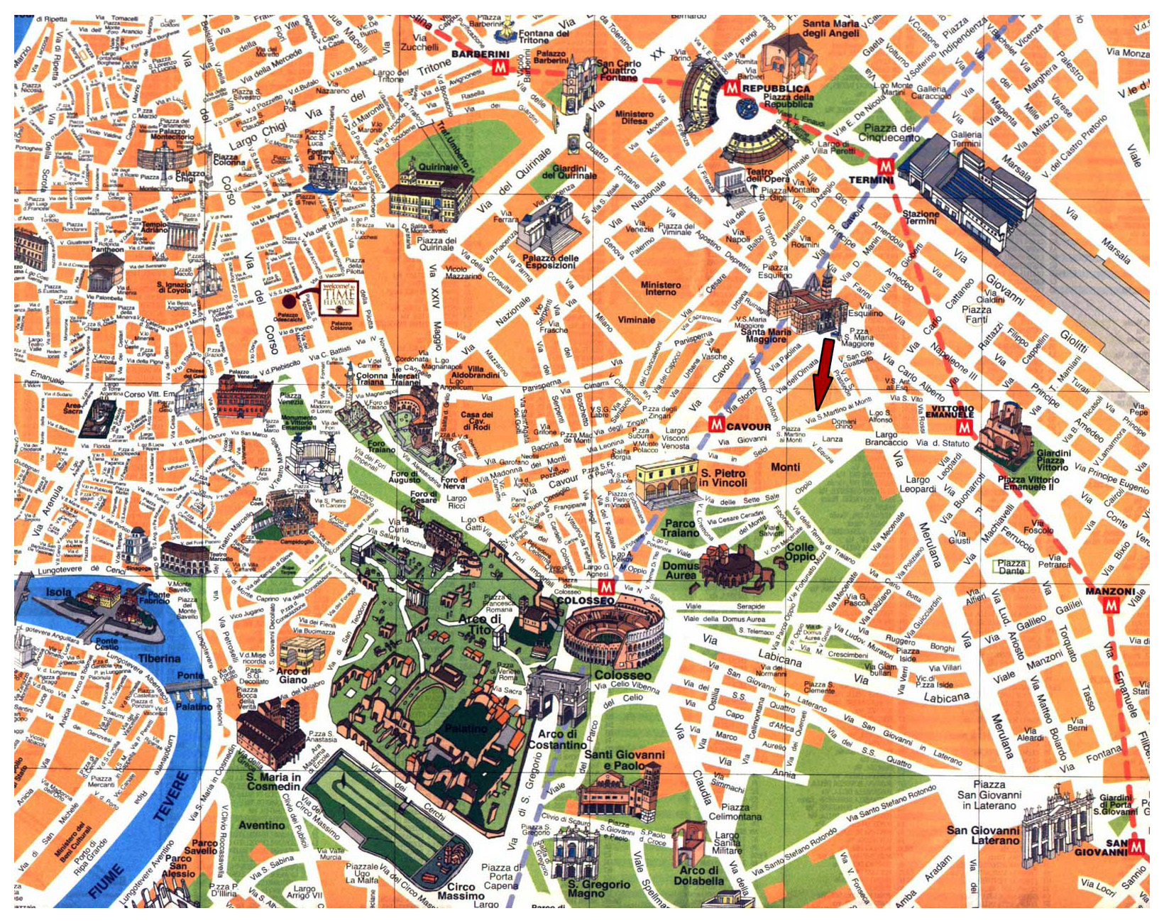 Map Of Italy For Tourists.Detailed Tourist Map Of Rome City Center Rome Italy Europe