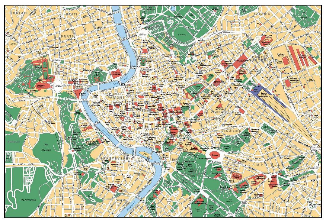 Detailed tourist map of Rome city