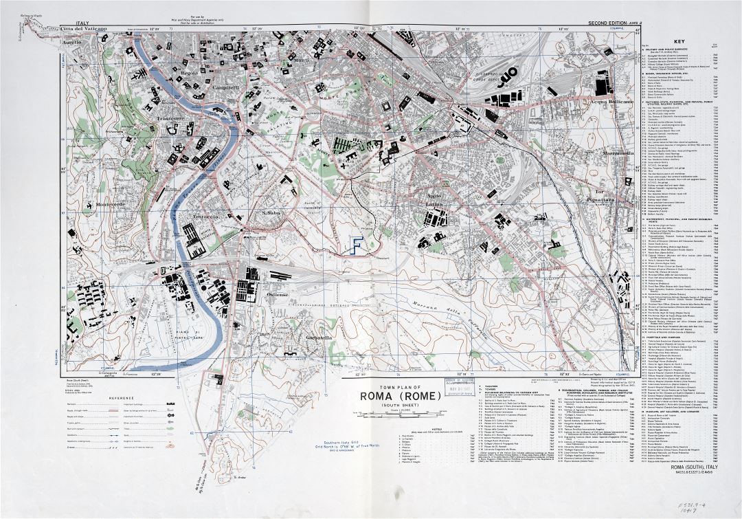 Large scale detail town plan of Roma Rome city 194344 Part 2