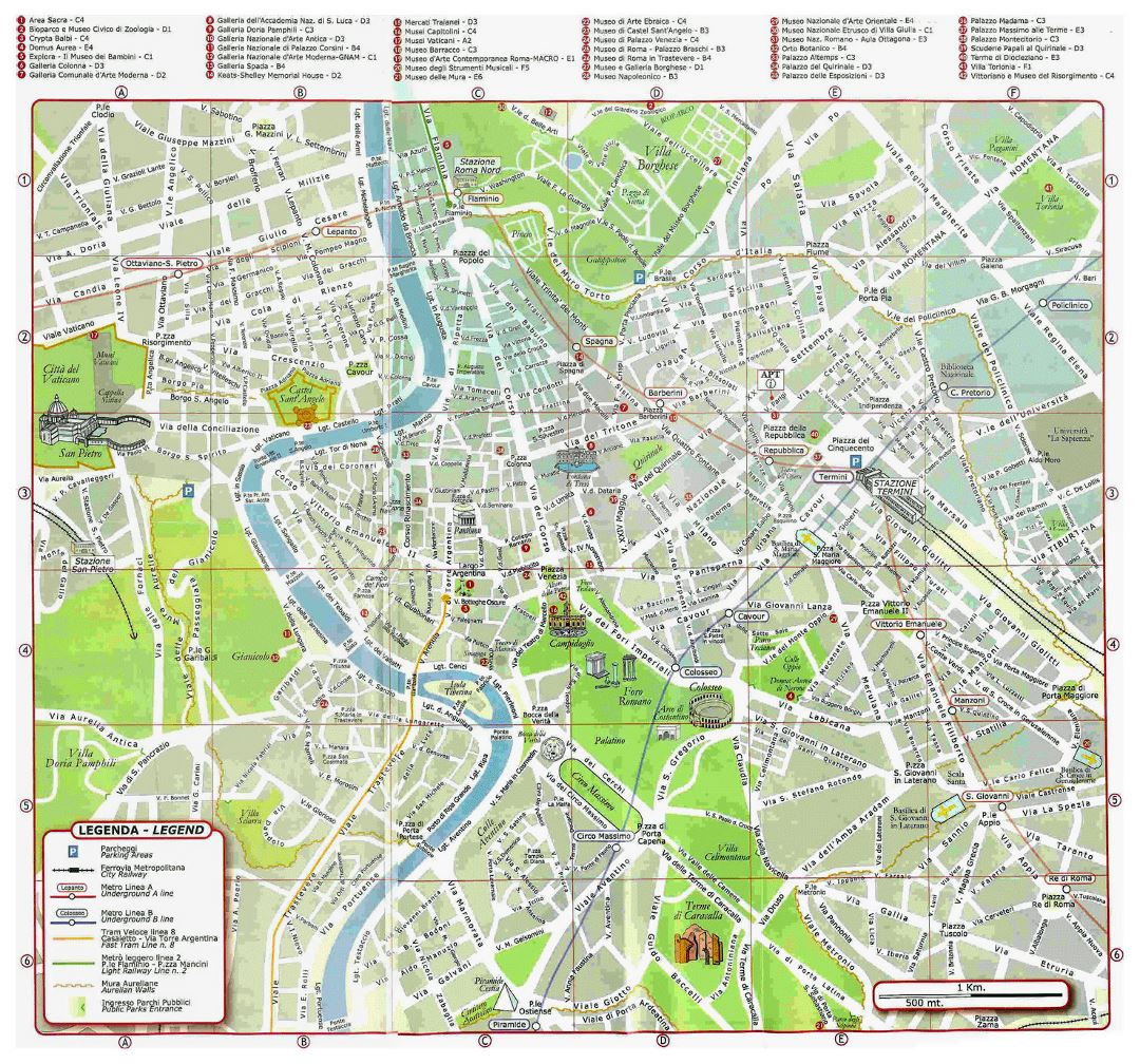 Tourist map of Rome city center