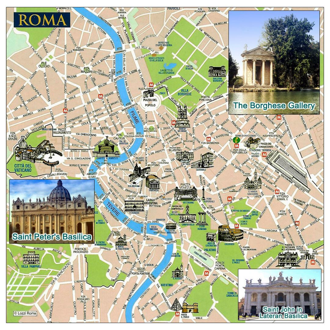Tourist map of Rome city Rome Italy Europe Mapsland Maps