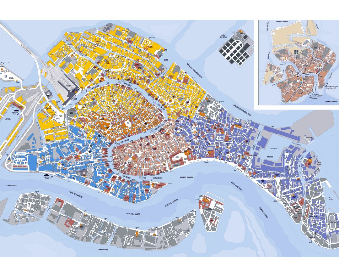 large detailed map of venice. maps of venice  detailed map of venice in english  tourist map