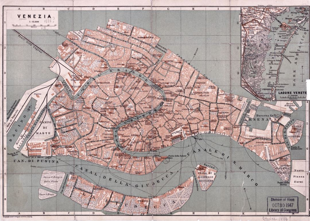 Large detailed old map of Venice city - 1886