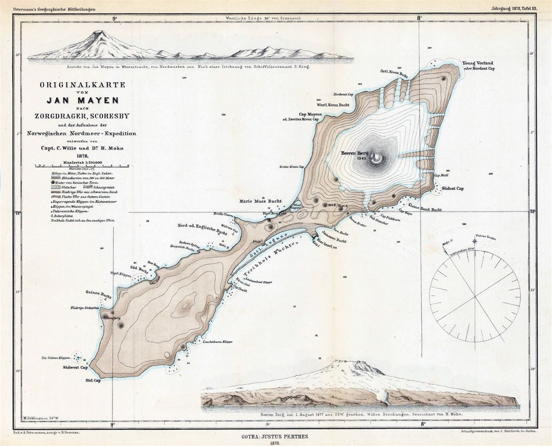 Detailed old topographical map of Jan Mayen island