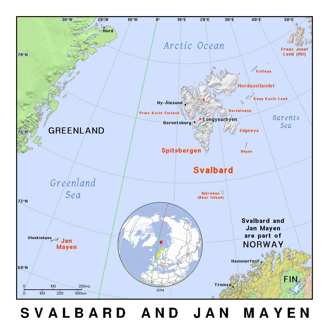 Jan Mayen Island Map Detailed political map of Svalbard and Jan Mayen island with