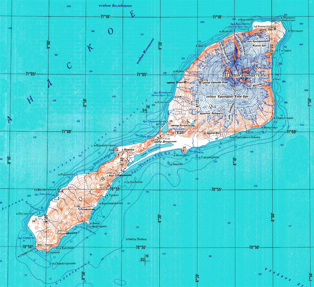 Large detailed topographical map of Jan Mayen island in russian