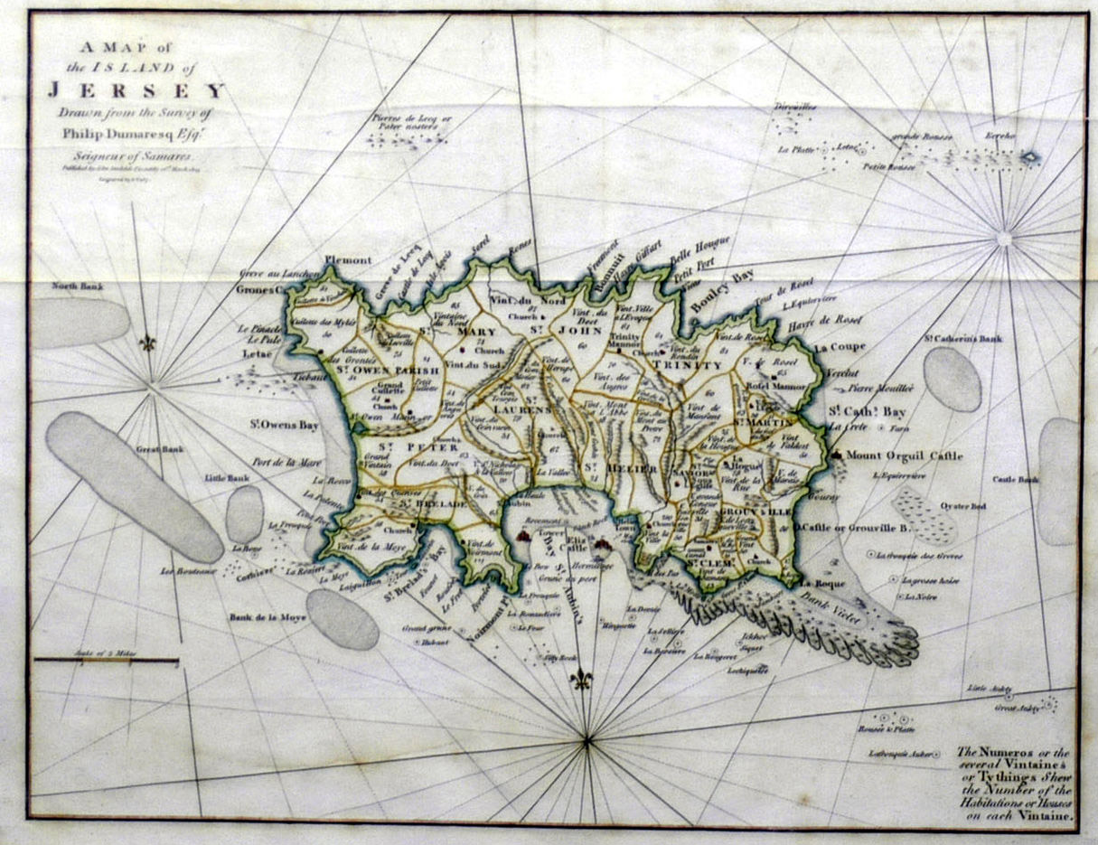 Detailed old map of Jersey with roads | Jersey | Europe | Mapsland ...