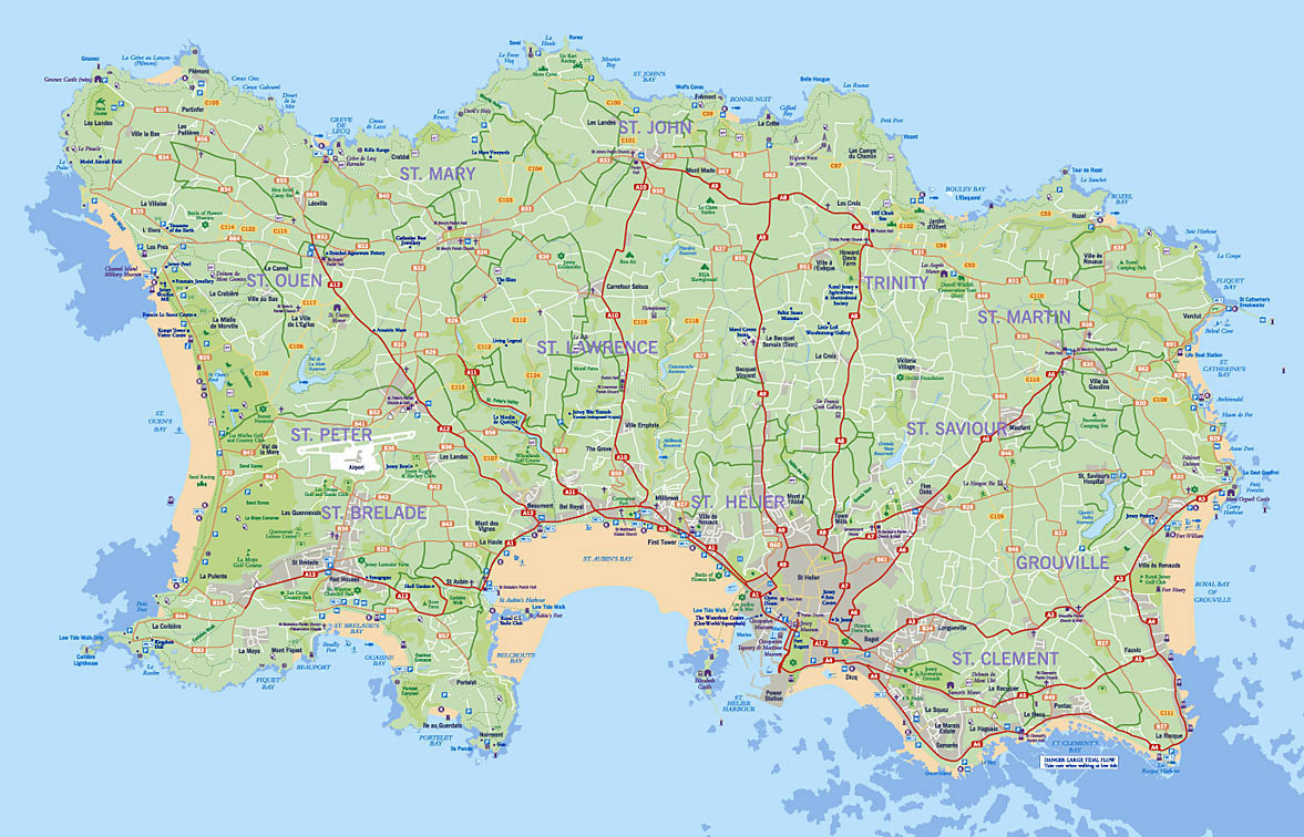 Detailed road map of Jersey | Jersey | Europe | Mapsland ...
