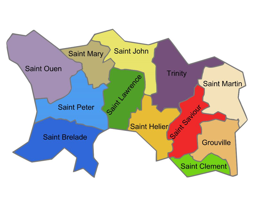 Large administrative map of Jersey