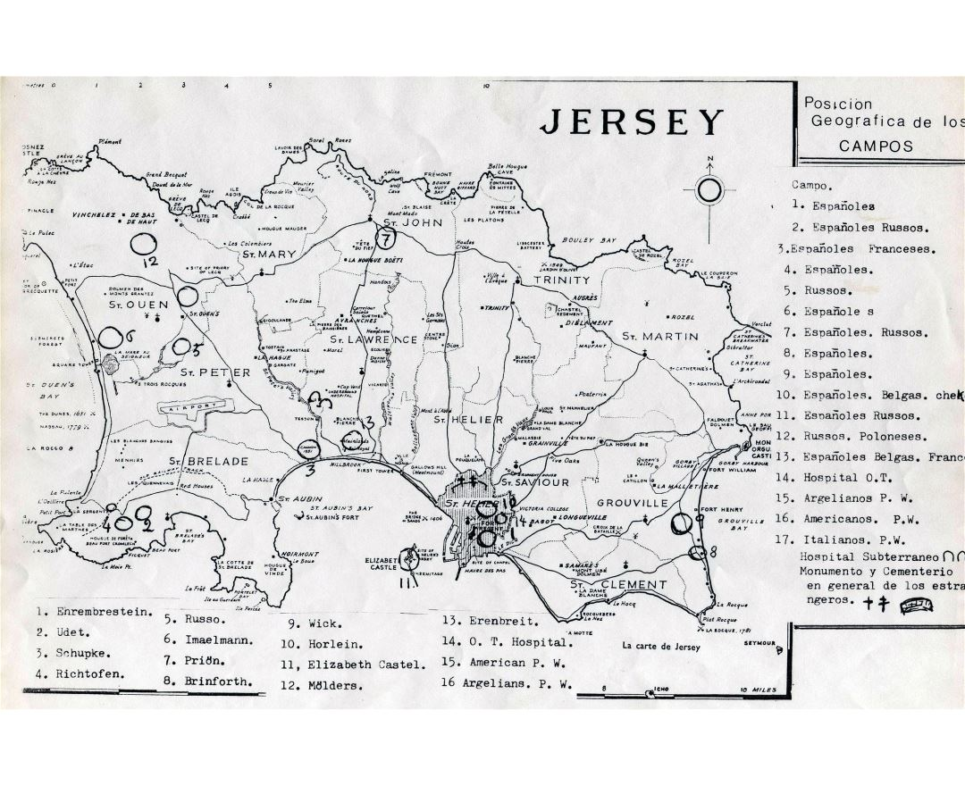 Large detailed old map of Jersey - 1943
