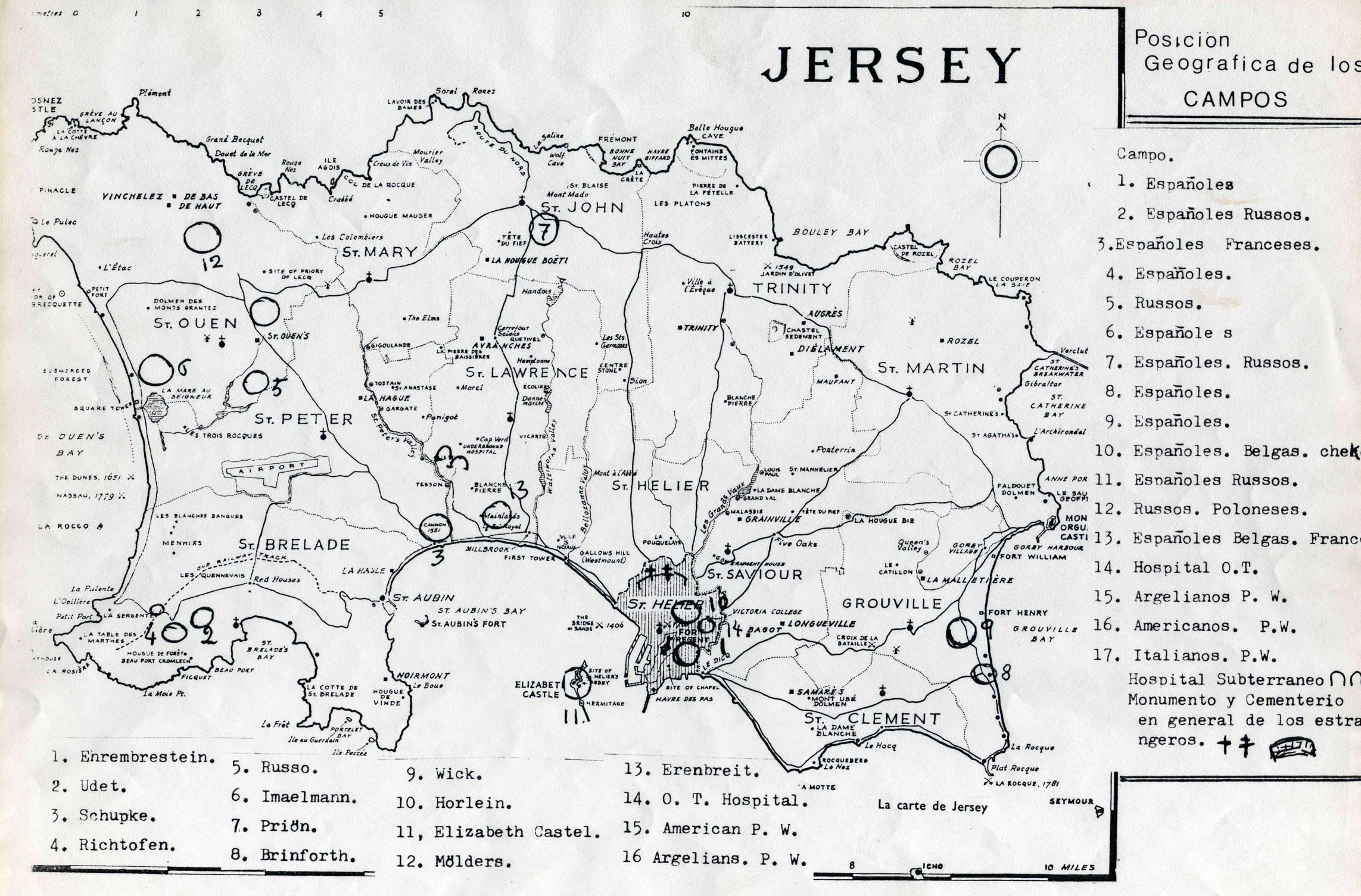 Large detailed old map of Jersey 1943 Jersey Europe Mapsland