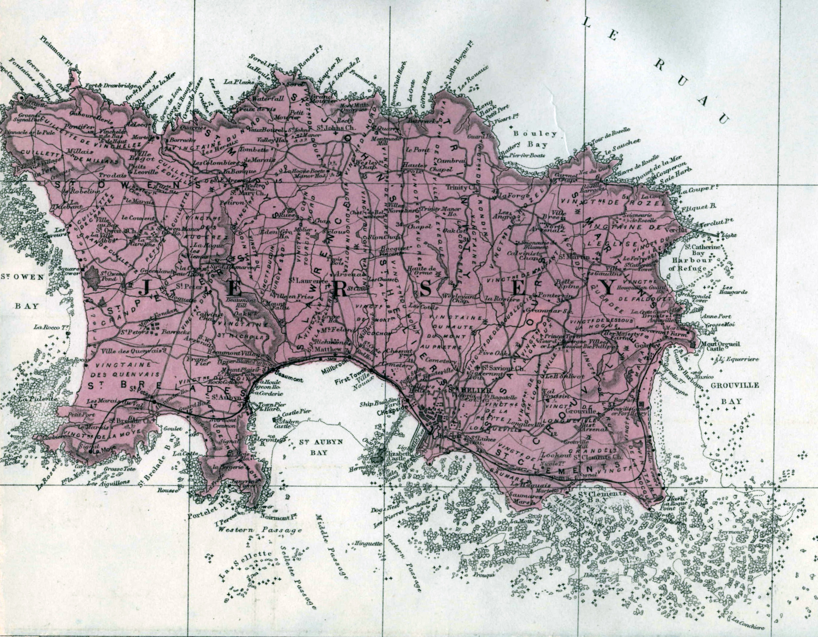 Large old road map of Jersey island with cities and villages