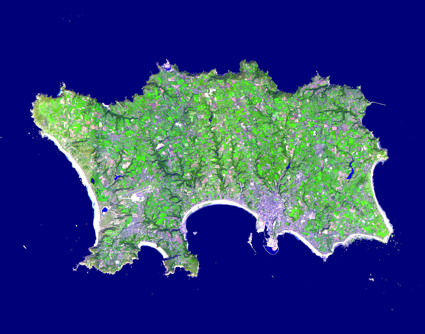 Large satellite map of Jersey Jersey Europe Mapsland Maps of