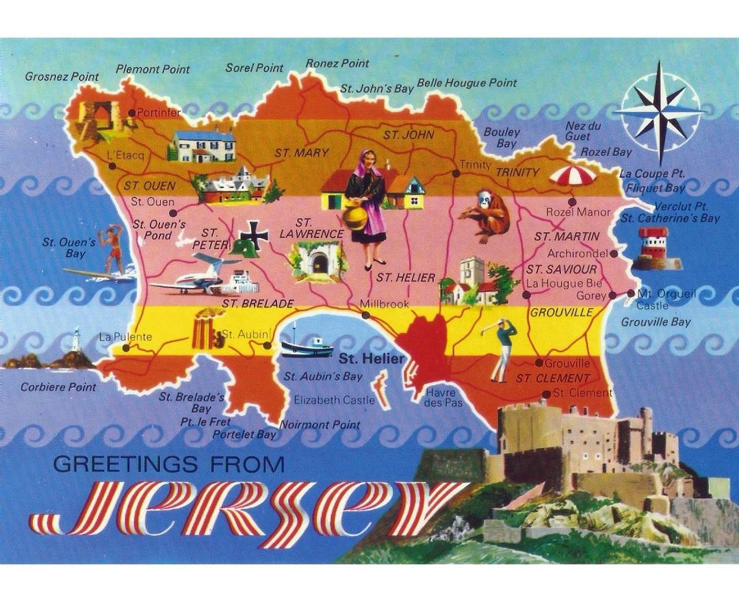 Large tourist illustrated map of Jersey island