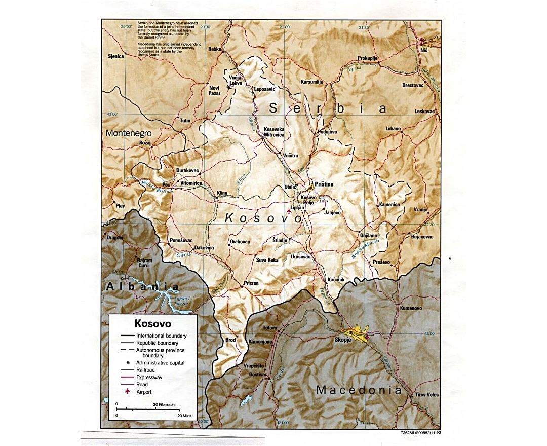 Detailed political map of Kosovo with relief, roads, railroads, cities and airports - 1992