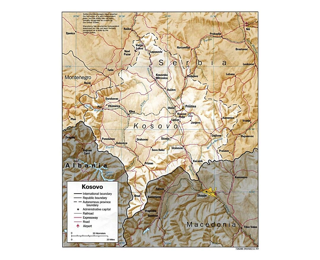 Detailed political map of Kosovo with relief, roads, railroads, cities and airports - 1999