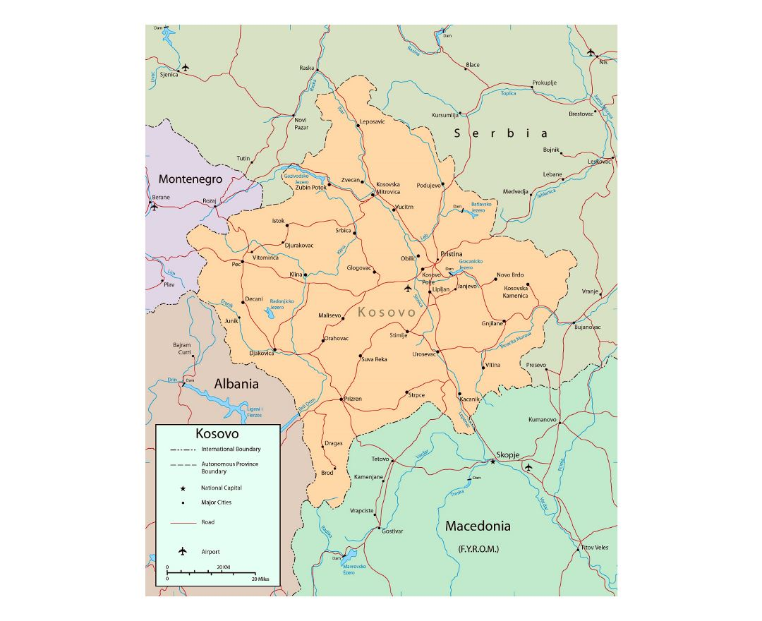 Detailed political map of Kosovo with roads, cities and airports