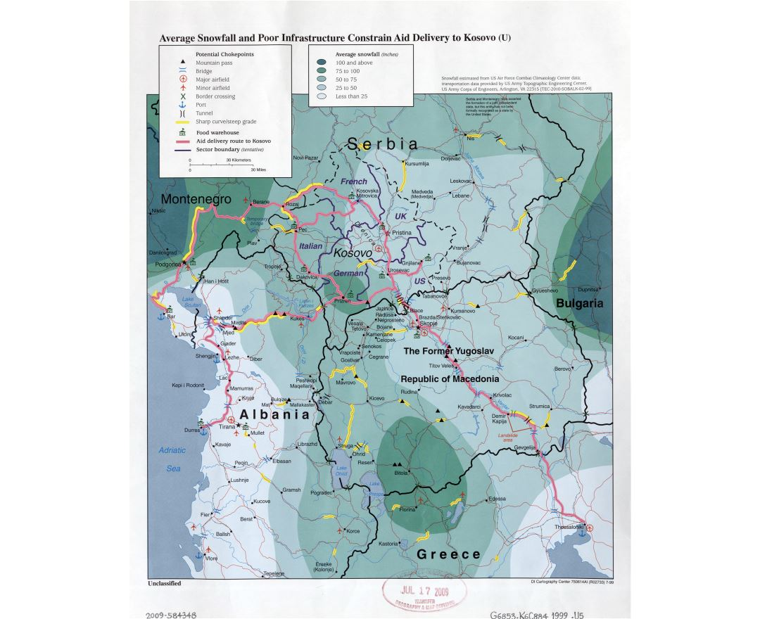 Large detail average snowfall and poor infrastructure constrain aid delivery to Kosovo map - 1999