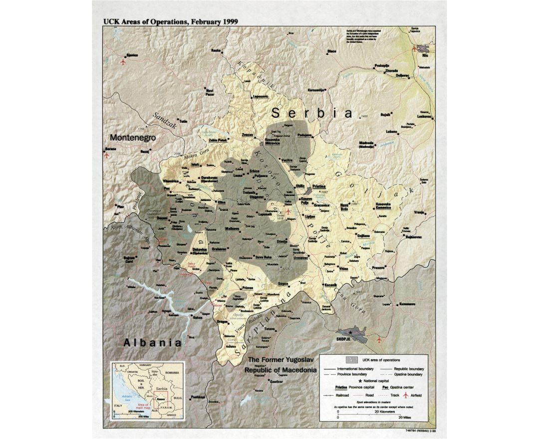 Large detail UCK areas of operations map - February, 1999 (Kosovo, Serbia)