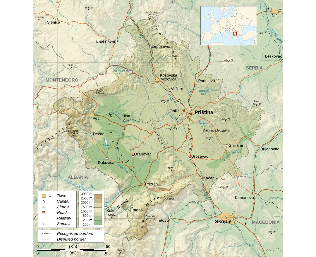 Large detailed physical map of Kosovo