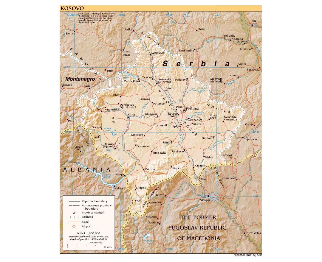 Large detailed political map of Kosovo with relief, roads, railroads, cities and airports - 1999