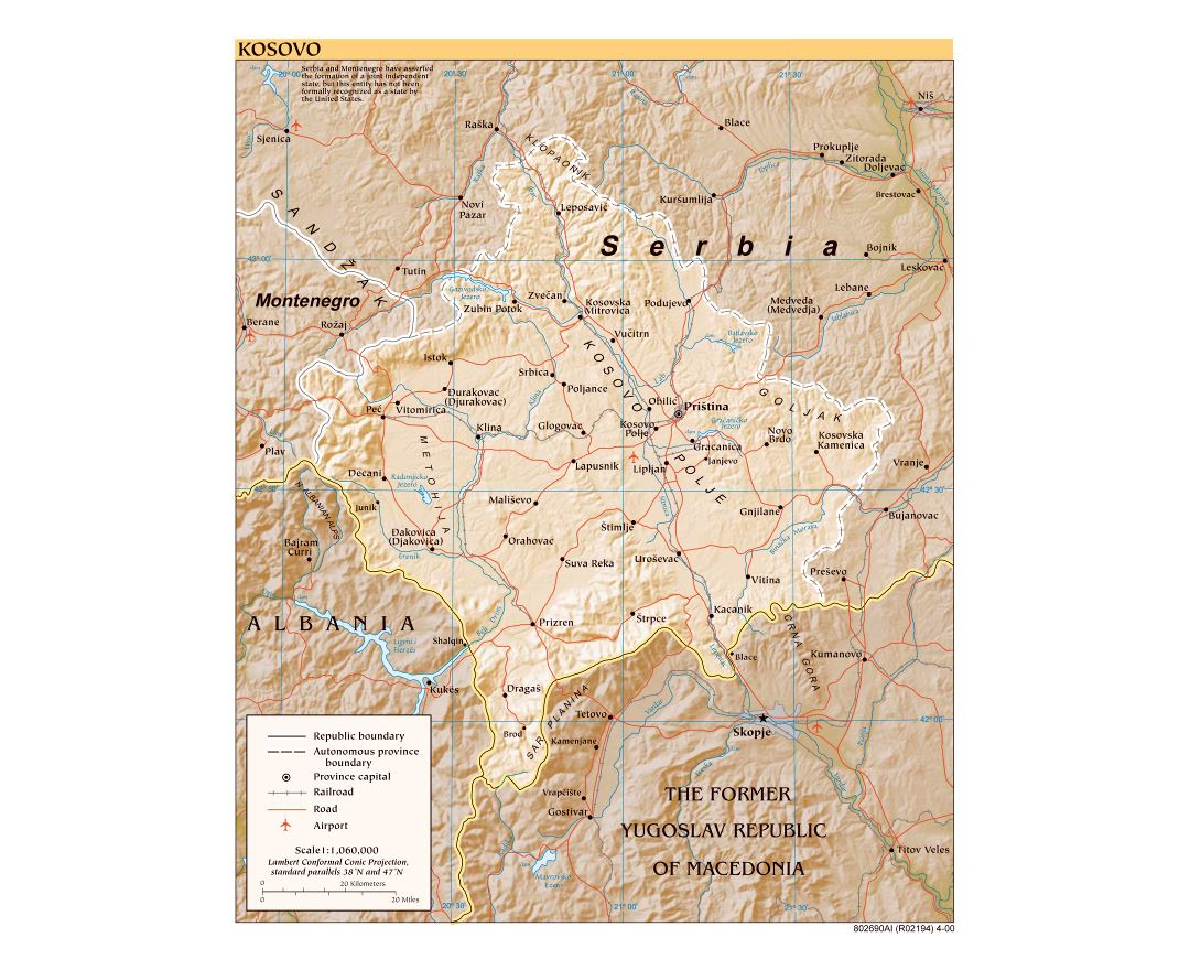 Large detailed political map of Kosovo with relief, roads, railroads, cities and airports - 2000