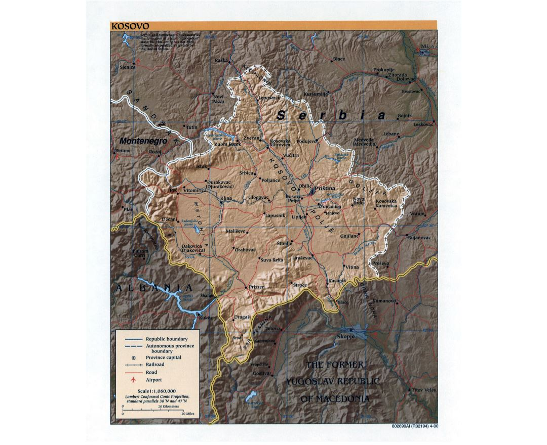 Large detailed political map of Kosovo with relief, roads, railroads, major cities and airports - 2000