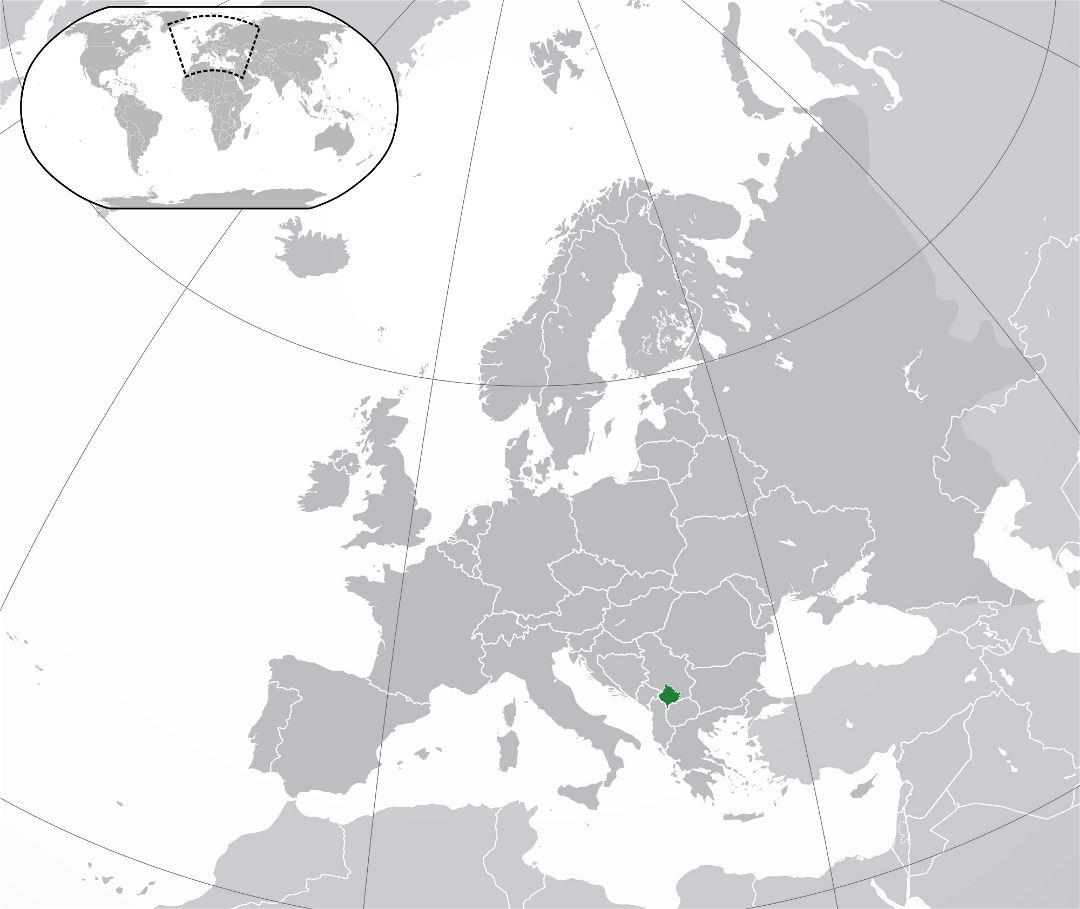Large location map of Kosovo