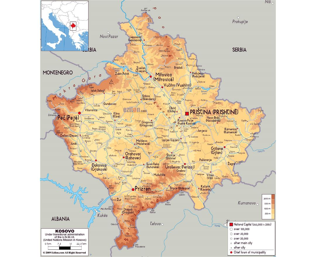 Large physical map of Kosovo with roads, cities and airports