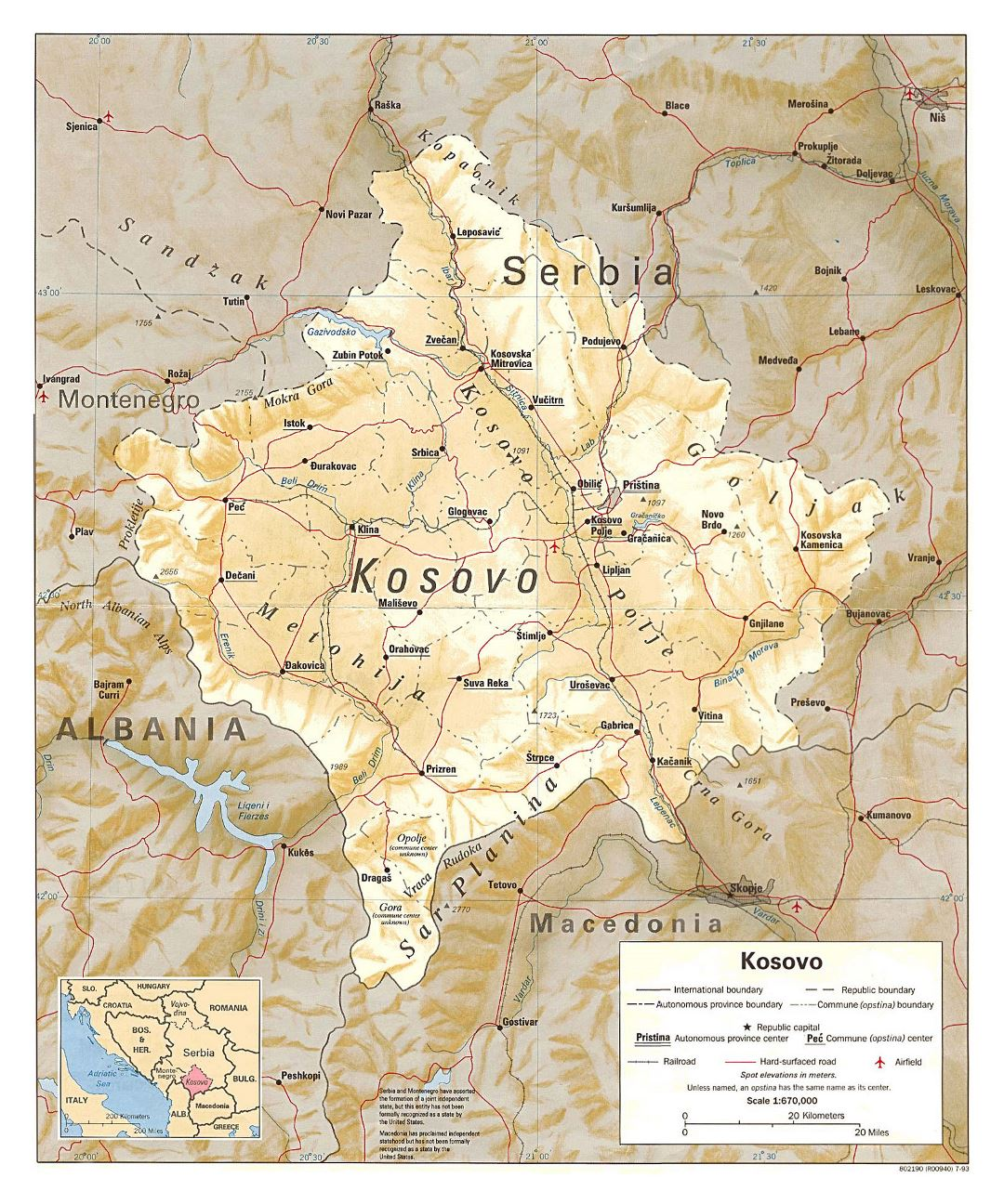 Large political and administrative map of Kosovo with relief, roads, railroads, cities and airports - 1993