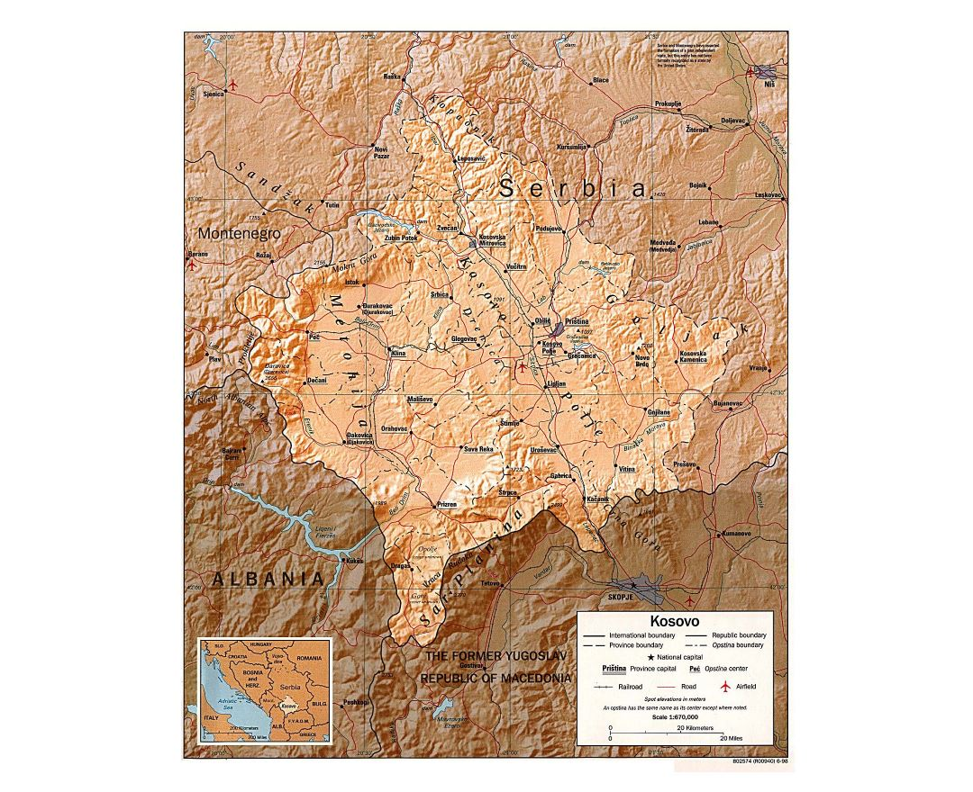 Large political and administrative map of Kosovo with relief, roads, railroads, major cities and airports - 1998