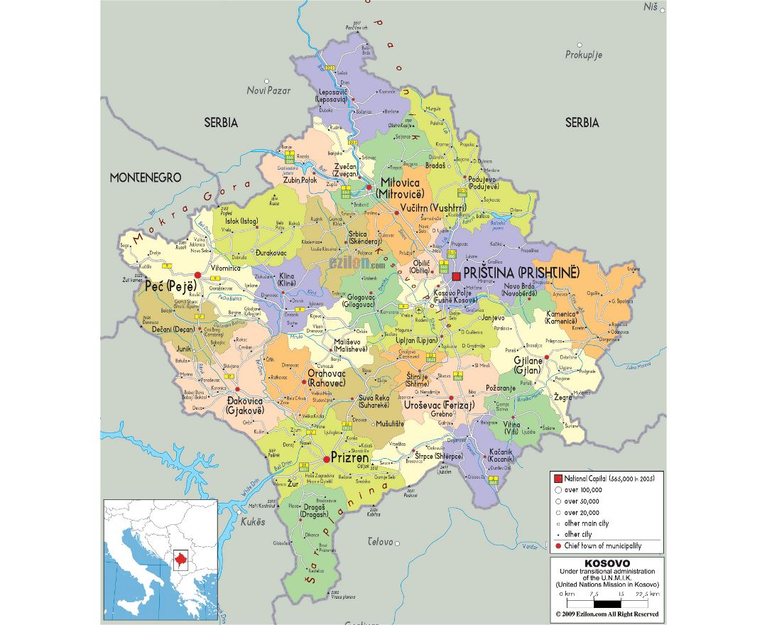 Large political and administrative map of Kosovo with roads, cities and airports