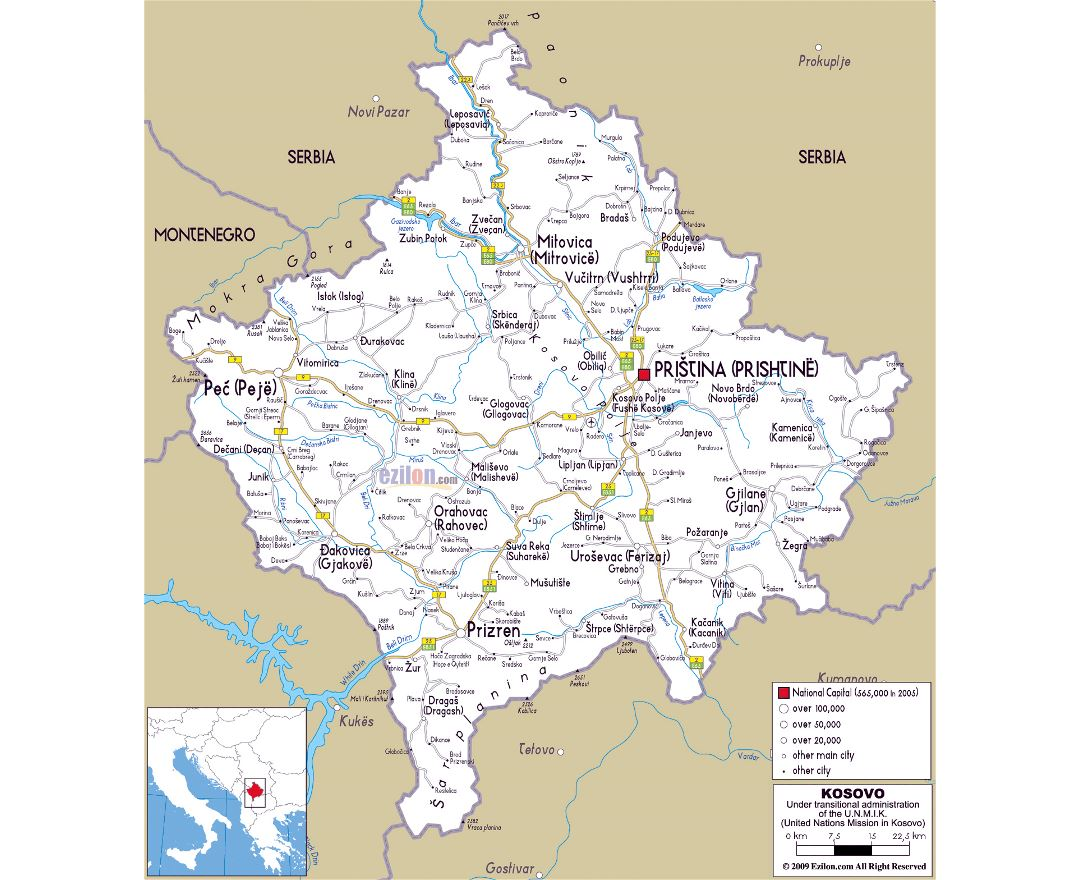 Maps of kosovo detailed map of kosovo in english tourist map large road map of kosovo with cities and airports gumiabroncs Choice Image