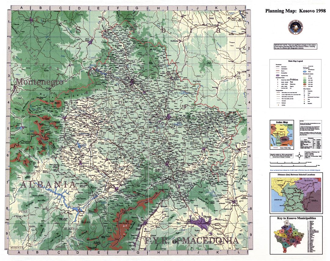 Large scale detail planning map of Kosovo - 1998