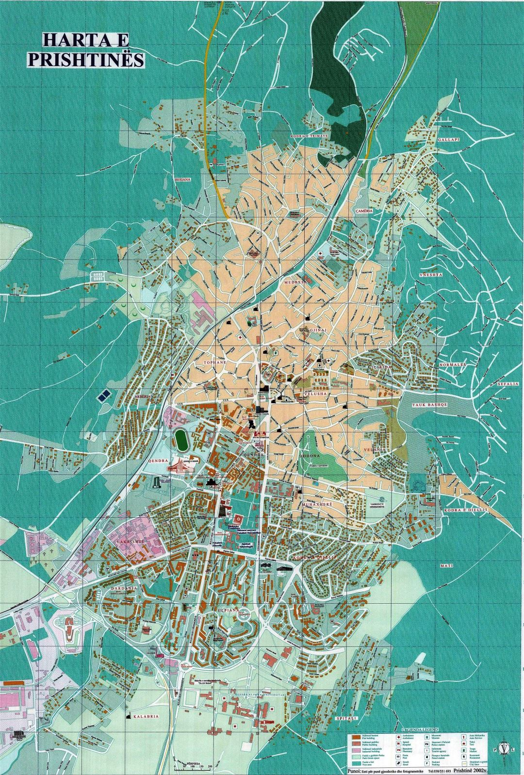 Large detailed tourist map of Pristina with other marks
