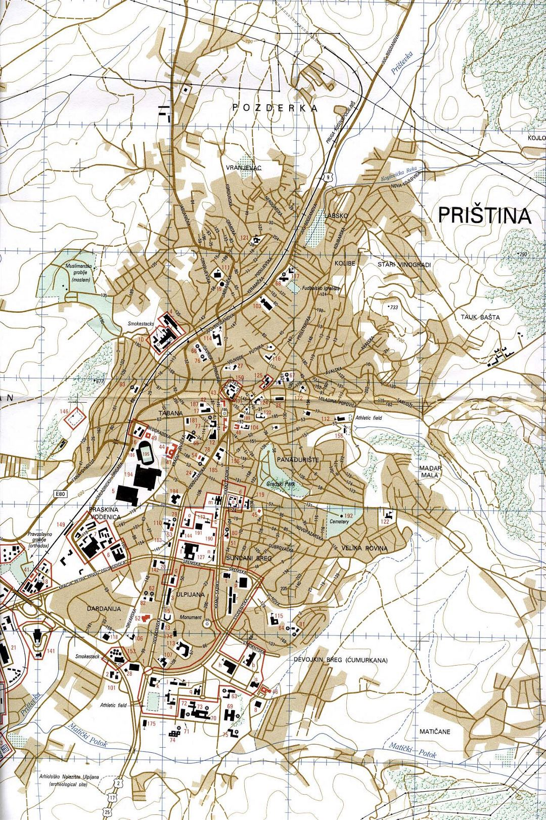 Large map of Pristina city