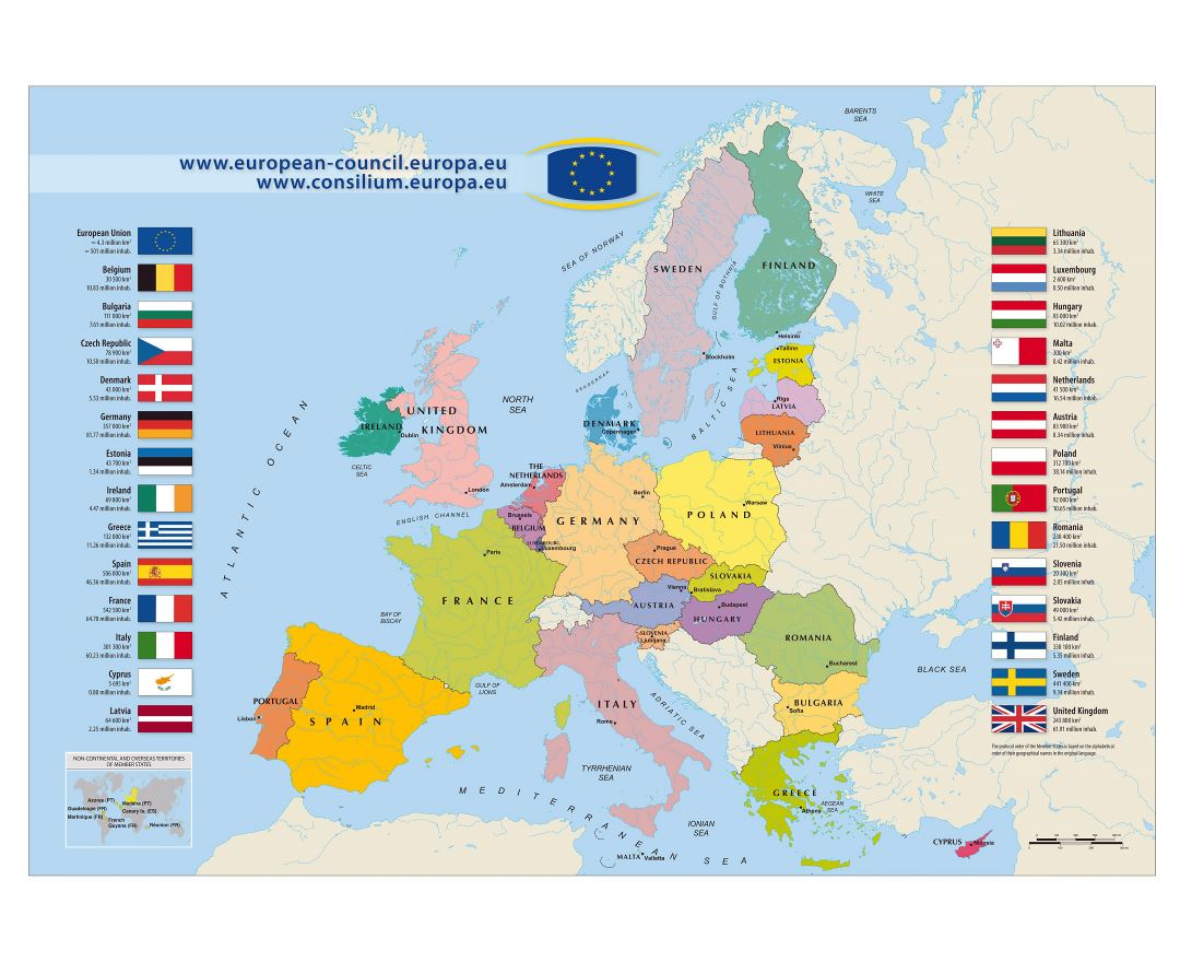 Large detailed map of European Union - 2011