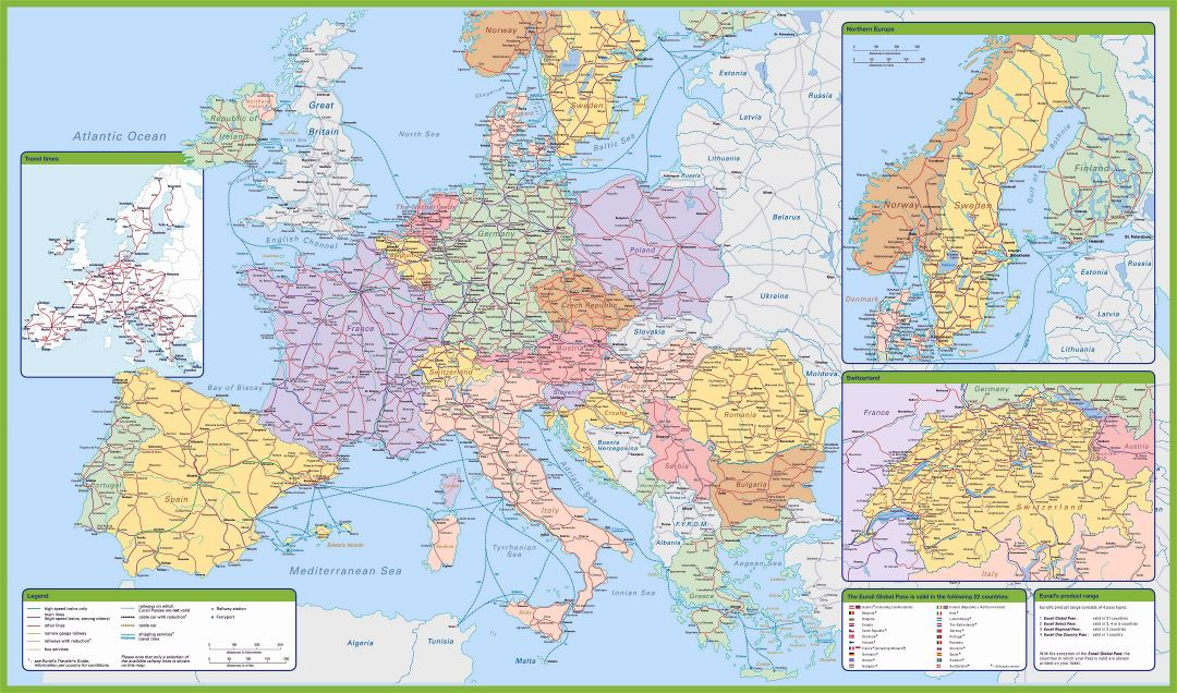 Large detailed map of railroads of Europe