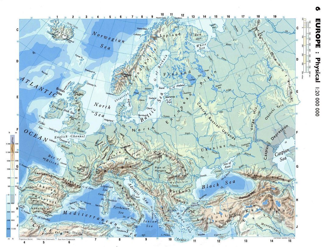 Large detailed physical map of Europe