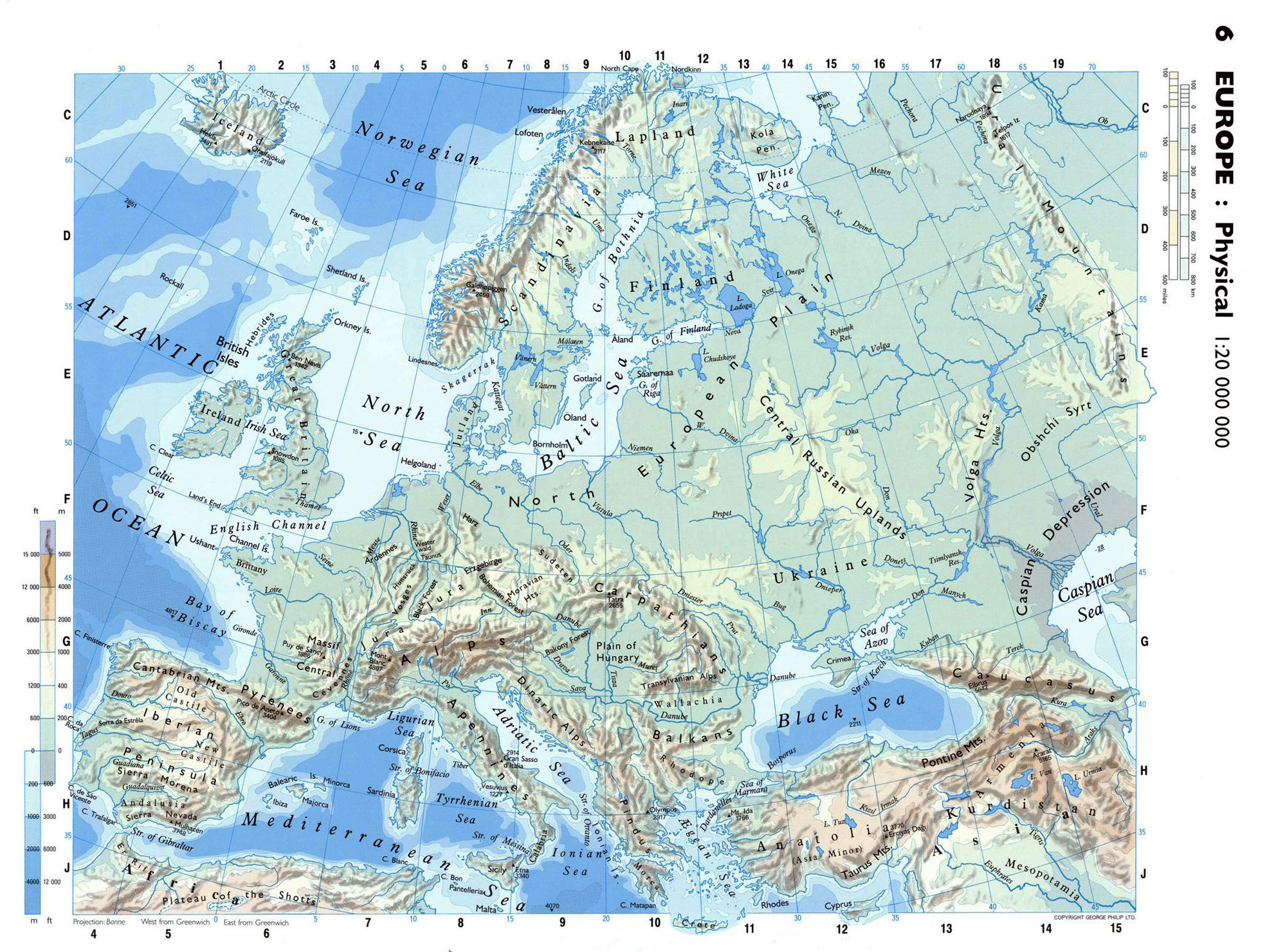 Large detailed physical map of Europe Europe Mapsland Maps of