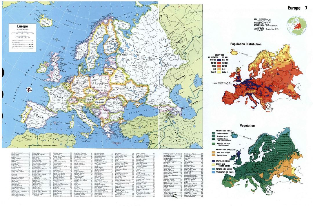 Large detailed political map of Europe