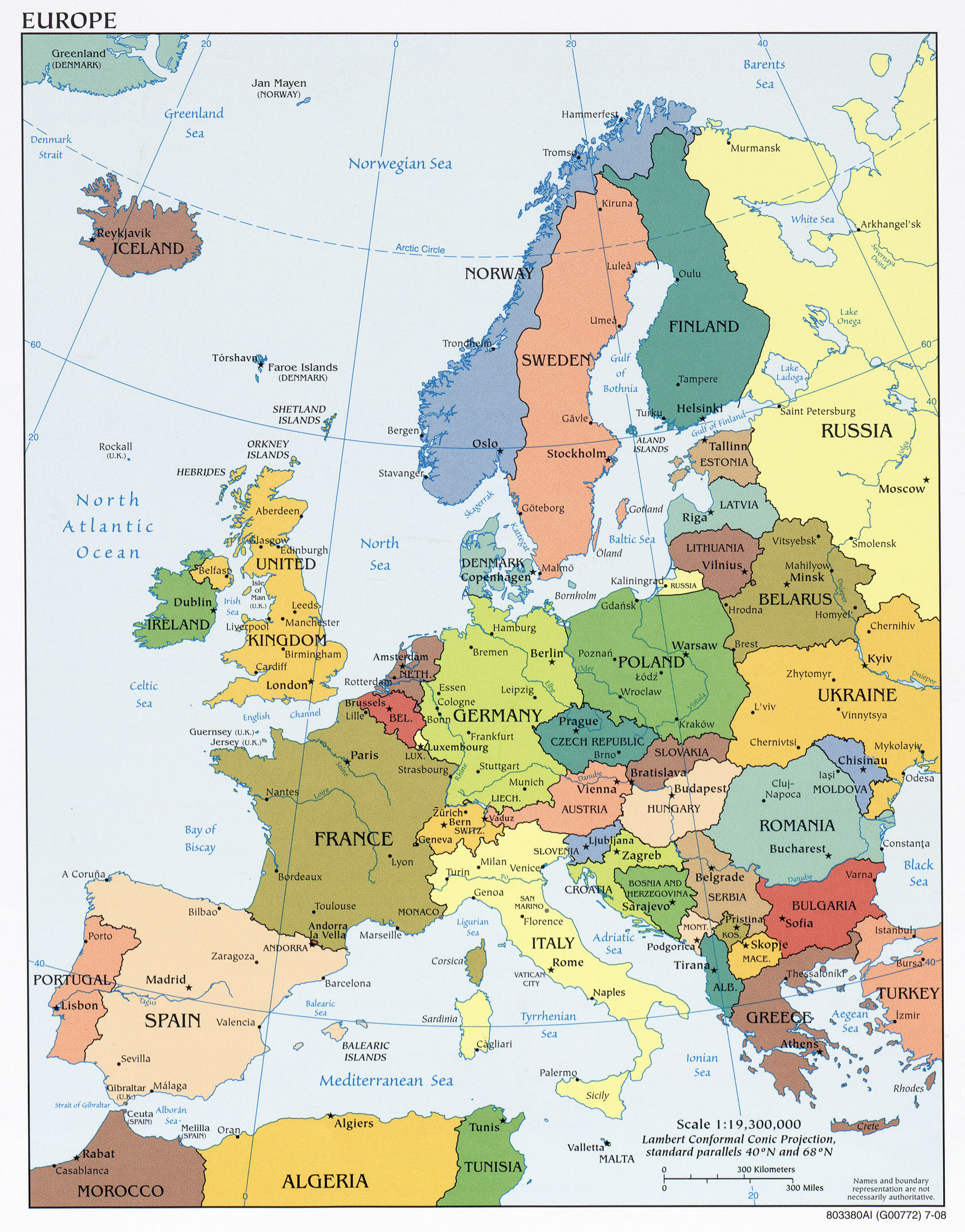 large detailed political map of europe with capitals and major cities 2008