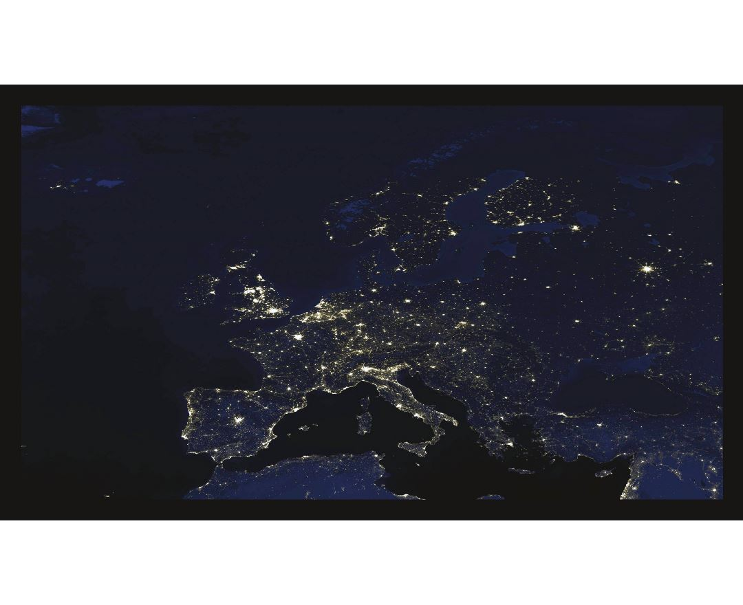 Large detailed satellite image of Europe at night