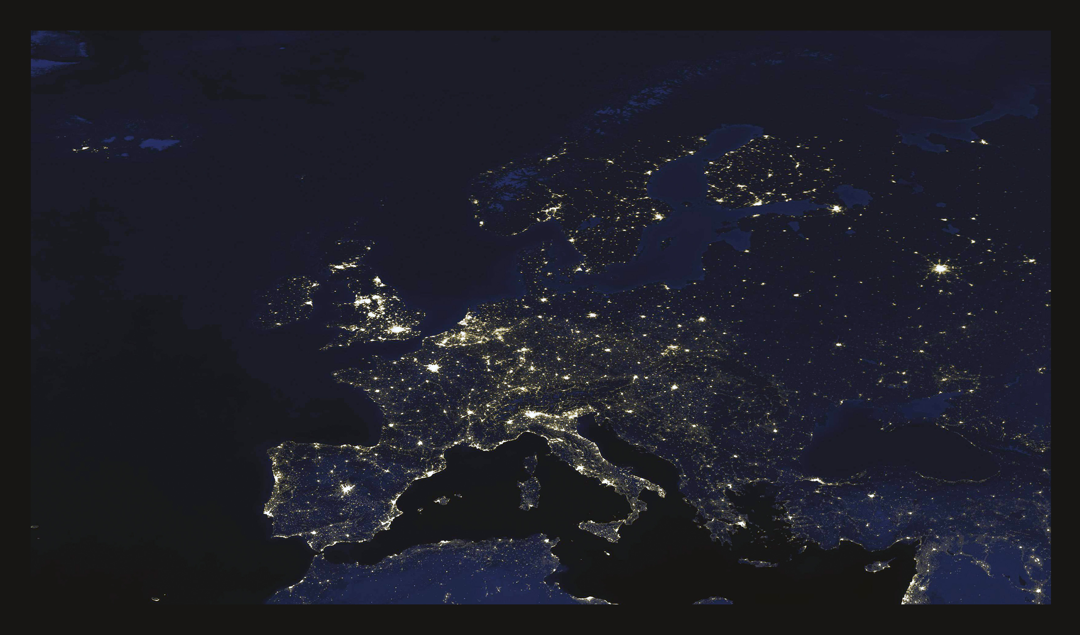 Large detailed satellite image of europe at night europe large detailed satellite image of europe at night gumiabroncs Gallery